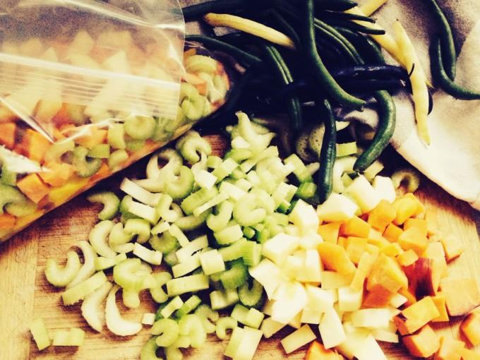 chopped soup veg