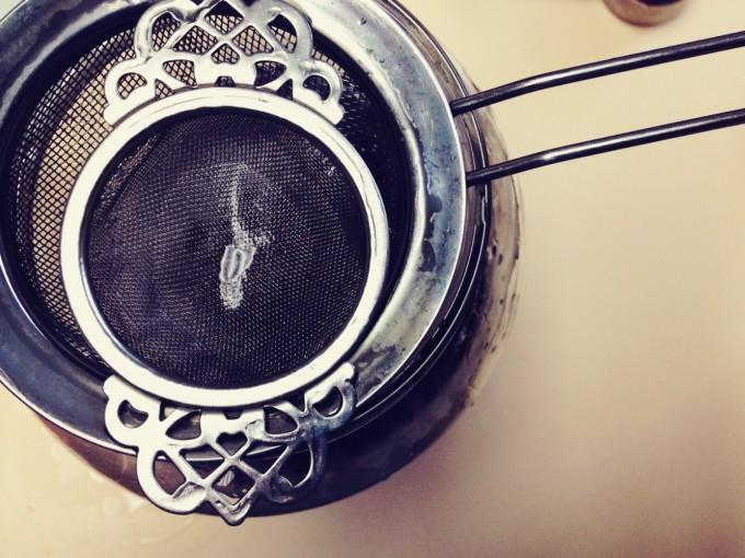 straining lemon balm