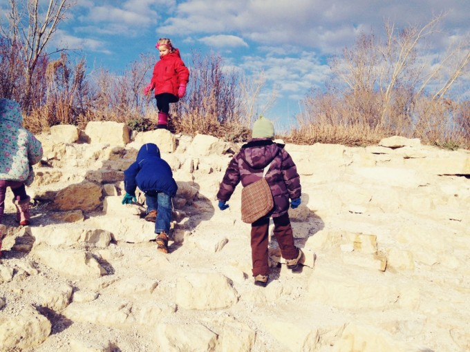 kids climbing nature walk