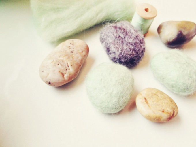 felted stones finished