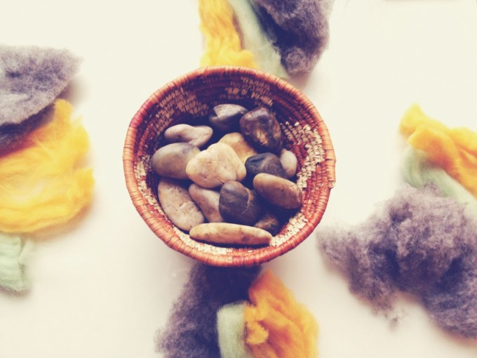 felted stones- roving stones
