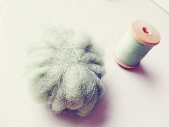 felted stones - thread