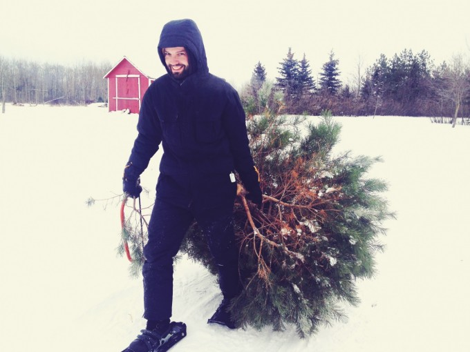 mike with cut tree