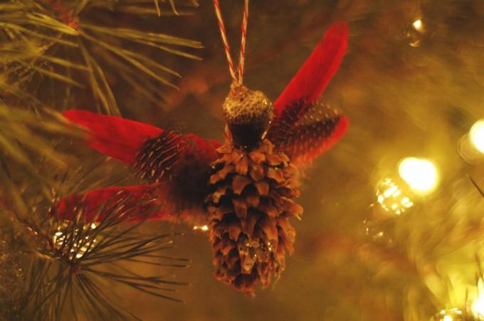 pine cone angel on tree