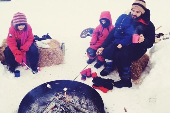 roasting marshmallows at tree farm