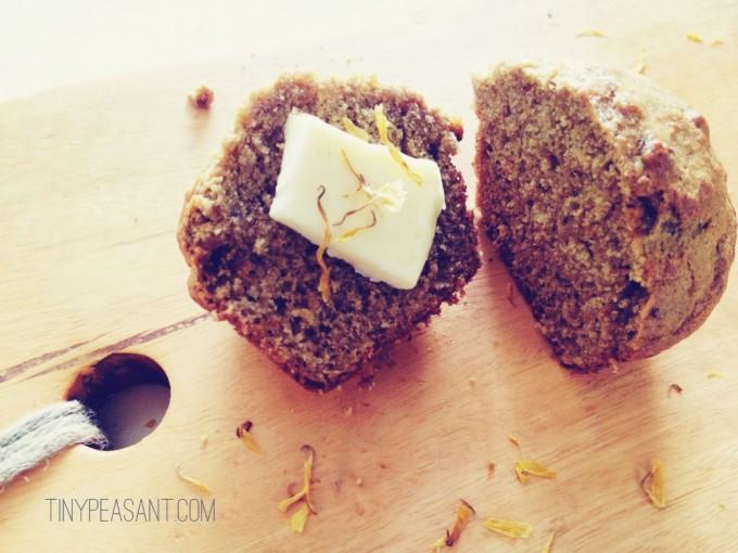 tiny peasant calendula muffins buttered