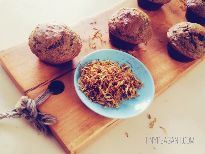 tiny peasant calendula muffins spread