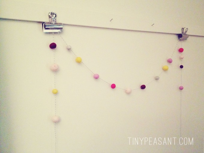 tiny peasant felted garland hanging