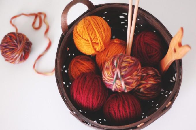 TP fall colours knitting basket