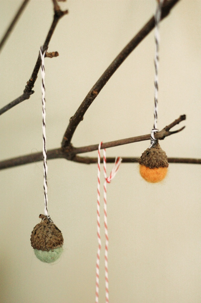 Tiny Peasant Acorn Felt Ornaments