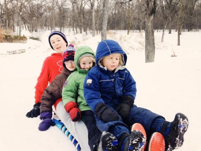 sledding together